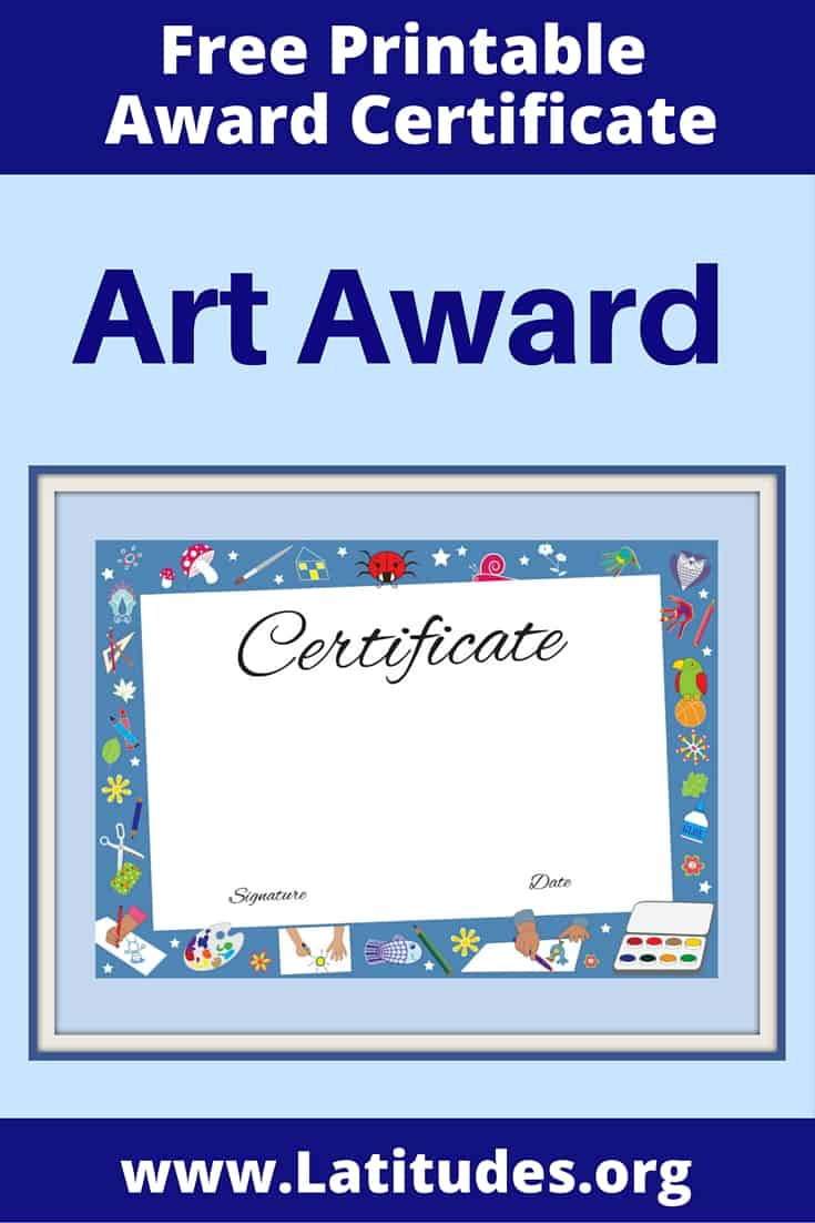 Art Achievement Certificate Pinterest