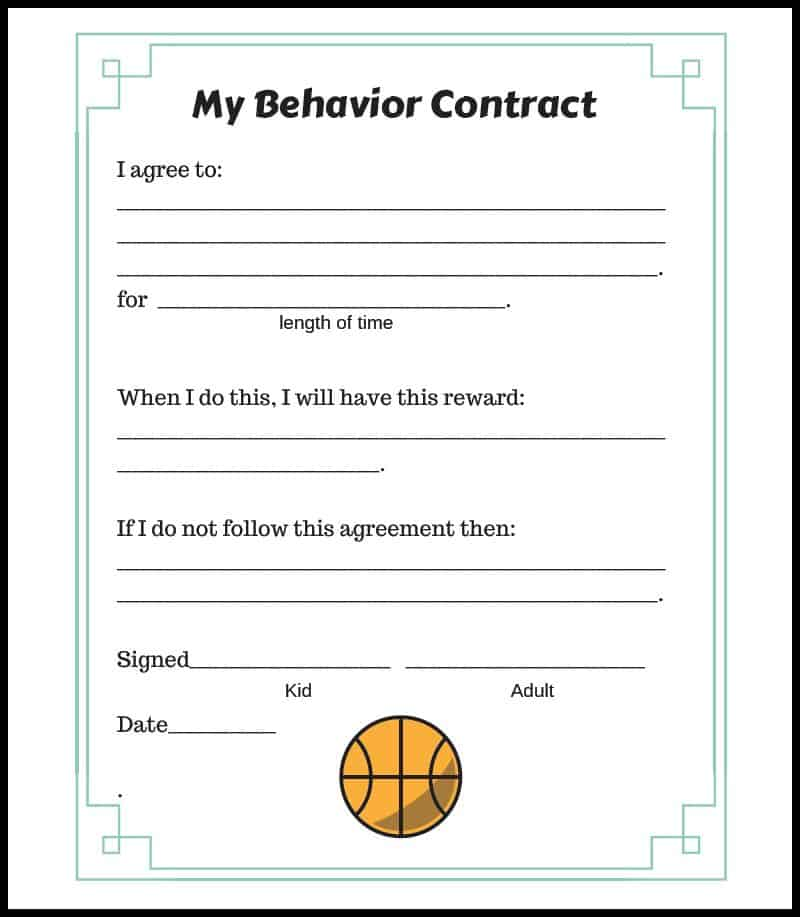 Basketball Behavior Contract Border