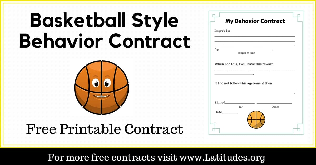 Free Behavior Contract Basketball Style  Acn Latitudes