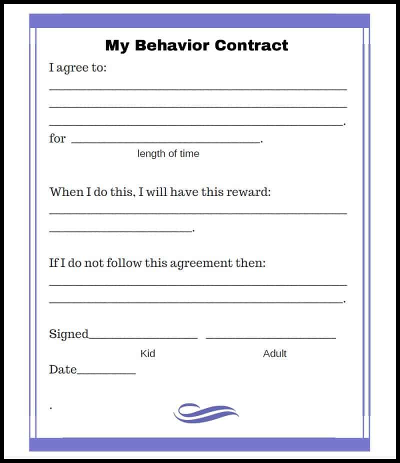 Free Behavior Contract Blue Style  Acn Latitudes
