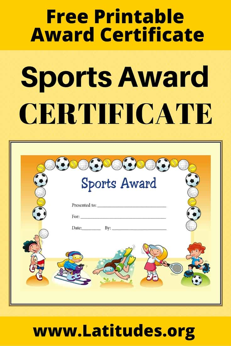 Certificate General Sports Award Pinterest