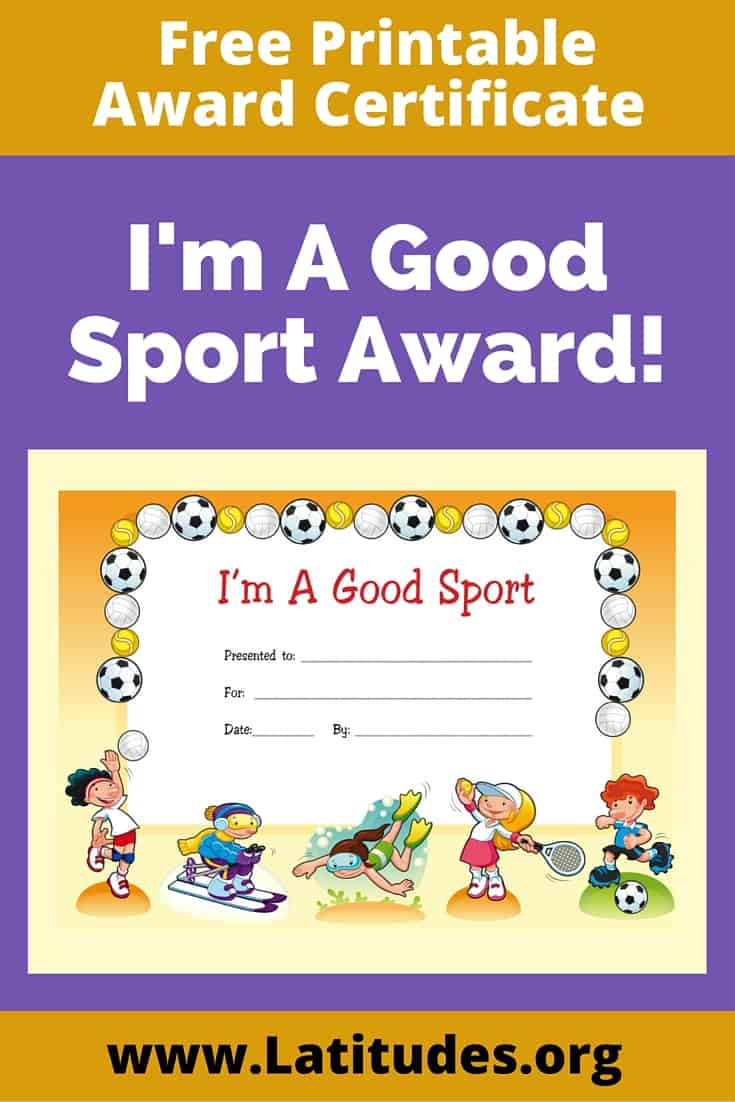Award Certificate I'm A Good Sport Pinterest