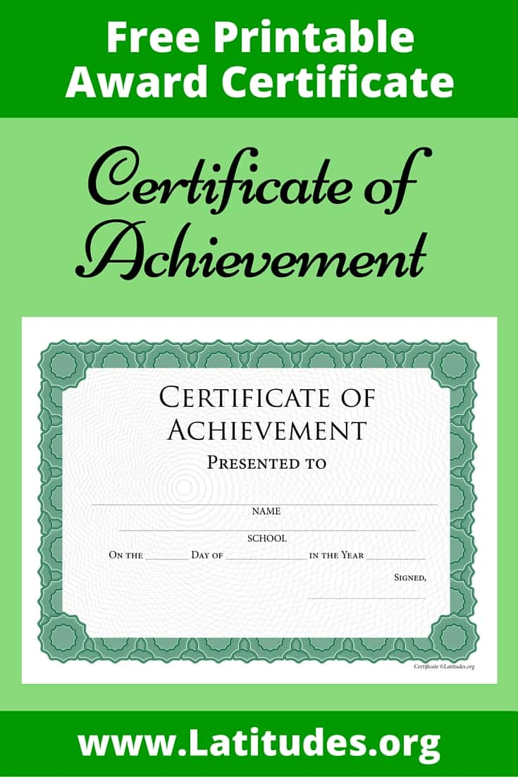 Certificate of Achievement Intermediate Pinterest