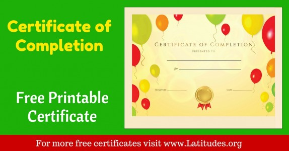 Certificate Of Completion Award  Printable Certificates Of Completion
