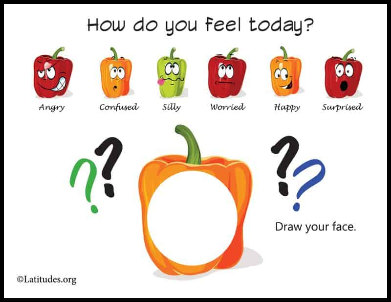 Draw How You Feel Today Peppers Feelings Chart Border