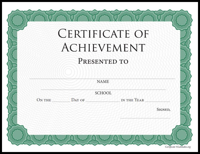 Intermediate Green Achievement Certificate Border