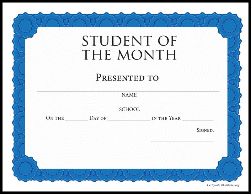 Free Student Of The Month Achievement Certificate Intermediate