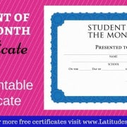 Intermediate Student of the Month Certificate WordPress