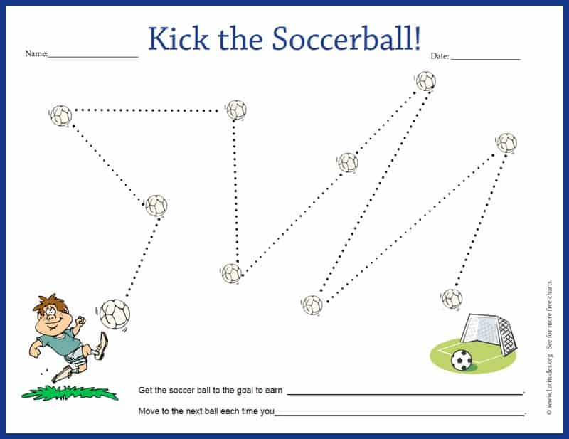 Kick the Soccer Ball Behavior Chart Border