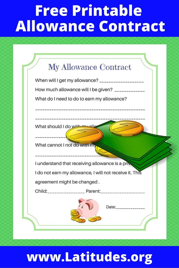 My Allowance Contract Pinterest