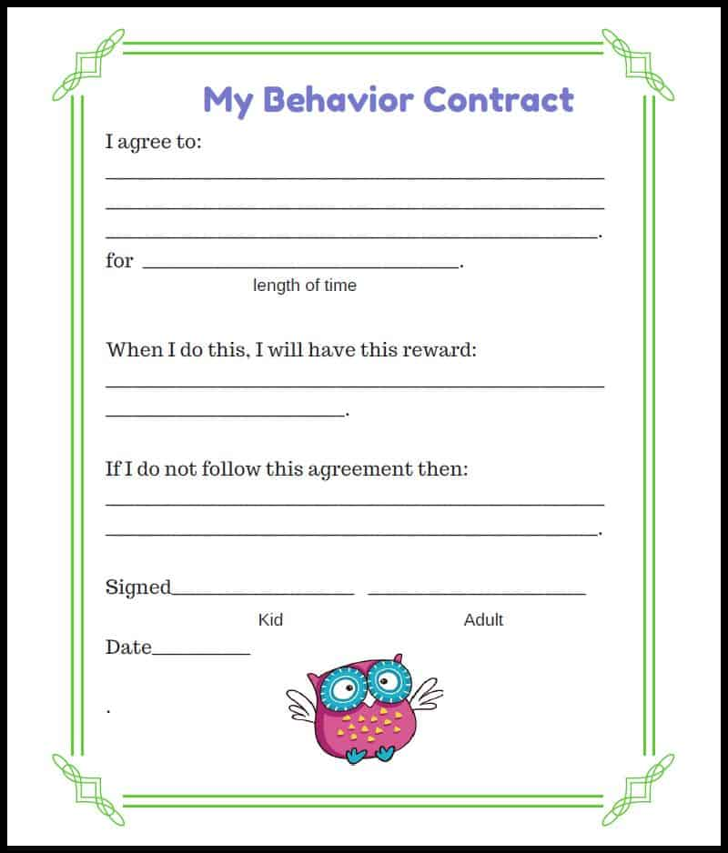 Free Behavior Contract Owl Style  Acn Latitudes
