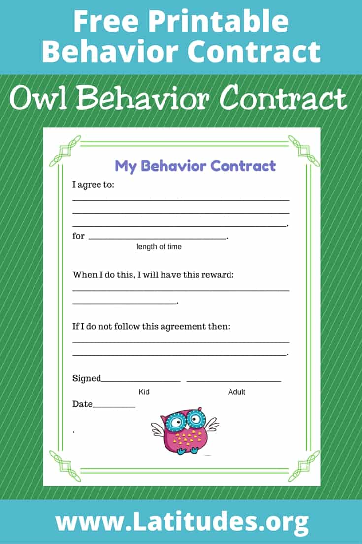 Owl Behavior Contract Pinterest