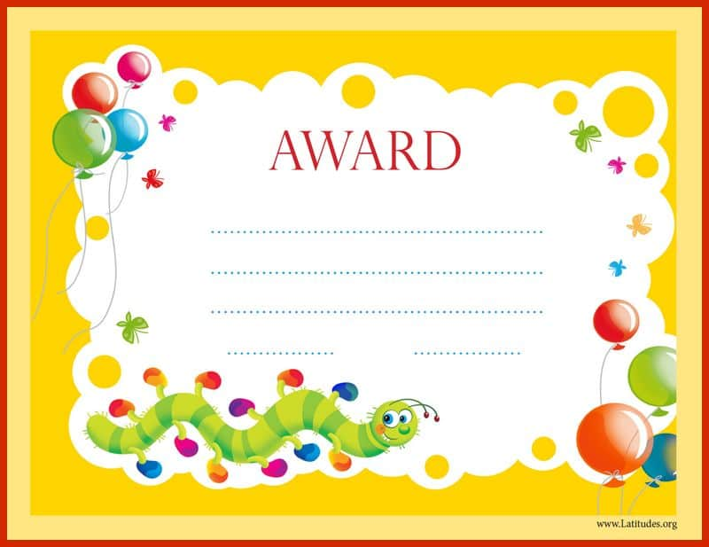 Primary Colorful Worm Award Certificate Border