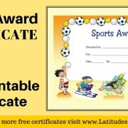 Primary General Sports Award Certificate WordPress
