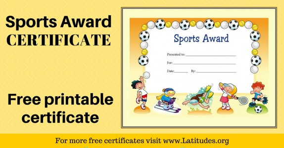 picture regarding Free Printable Sports Certificates called Absolutely free Printable Award Certificates for Young children ACN Laudes