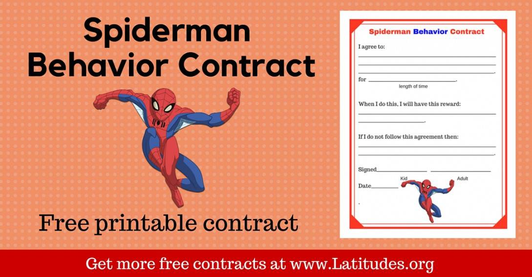 Spiderman Behavior Contract Wordpress