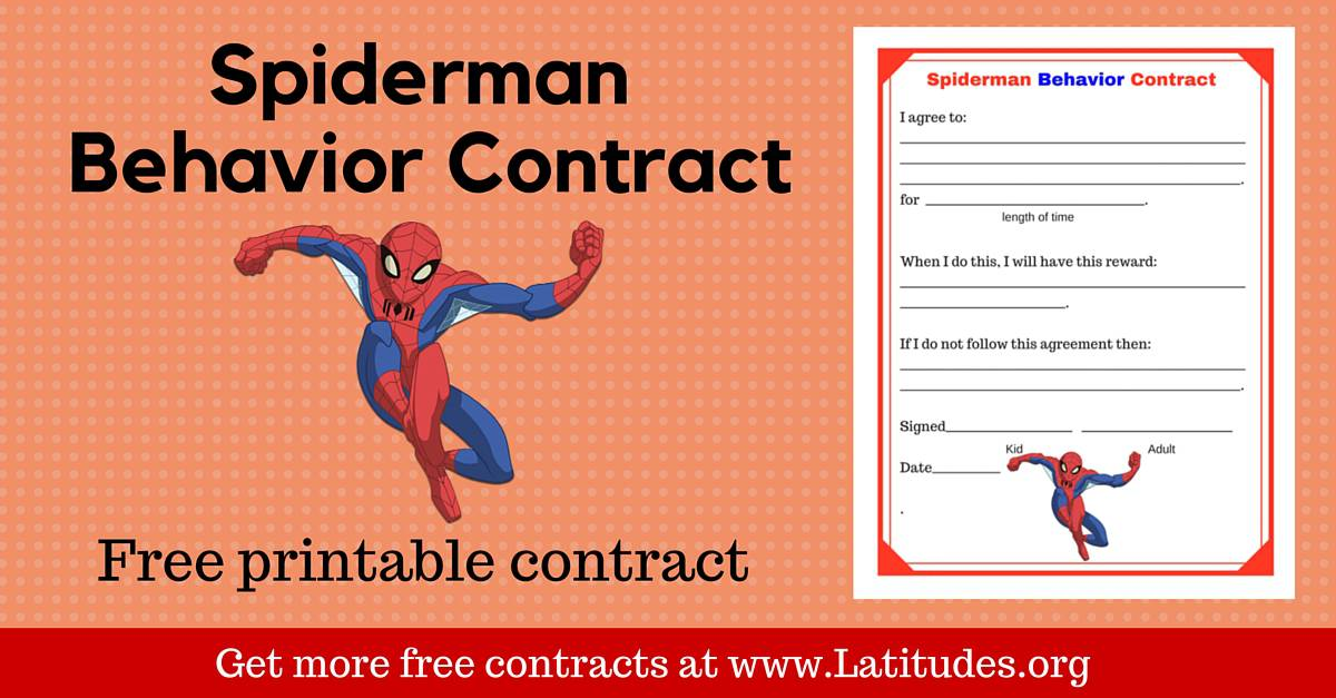 Free Spiderman Behavior Contract  Acn Latitudes
