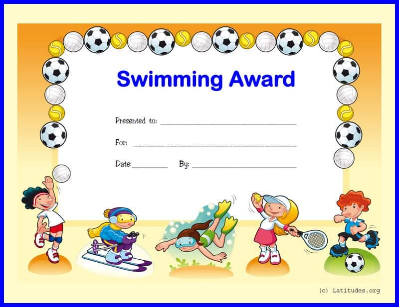 Swimming Award Certificate Border