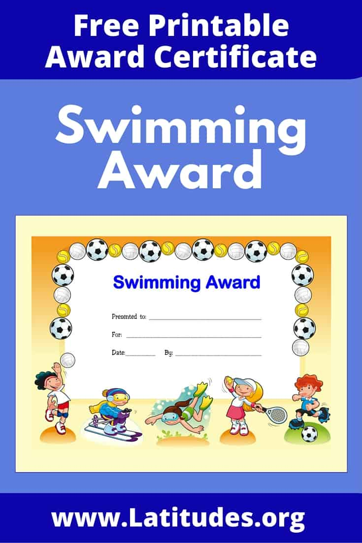 Swimming Award Certificate Pinterest