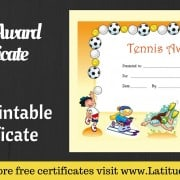 Tennis Award Certificate WordPress