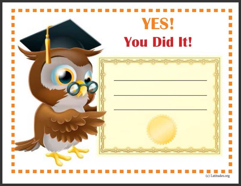 Wise Owl Achievement Certificate Border