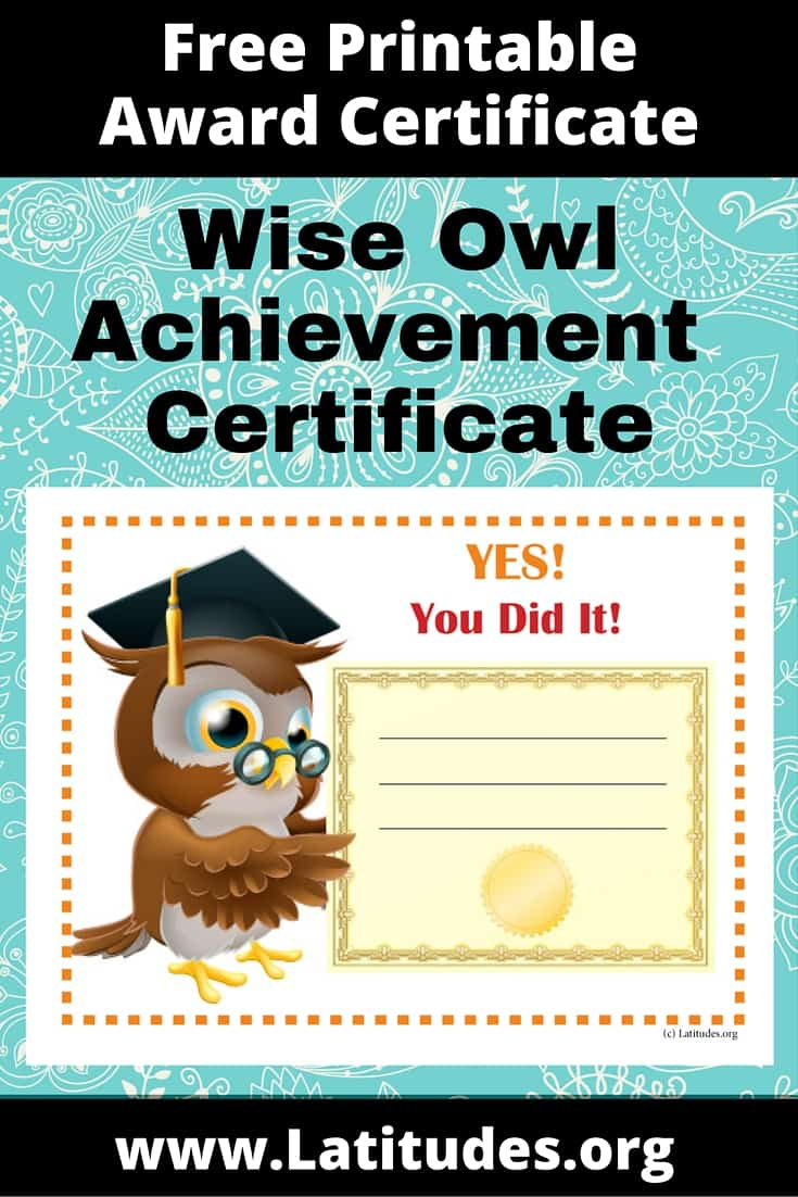 free achievement certificate  wise owl