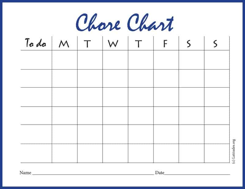 Free Chore Chart   Days Intermediate  Acn Latitudes