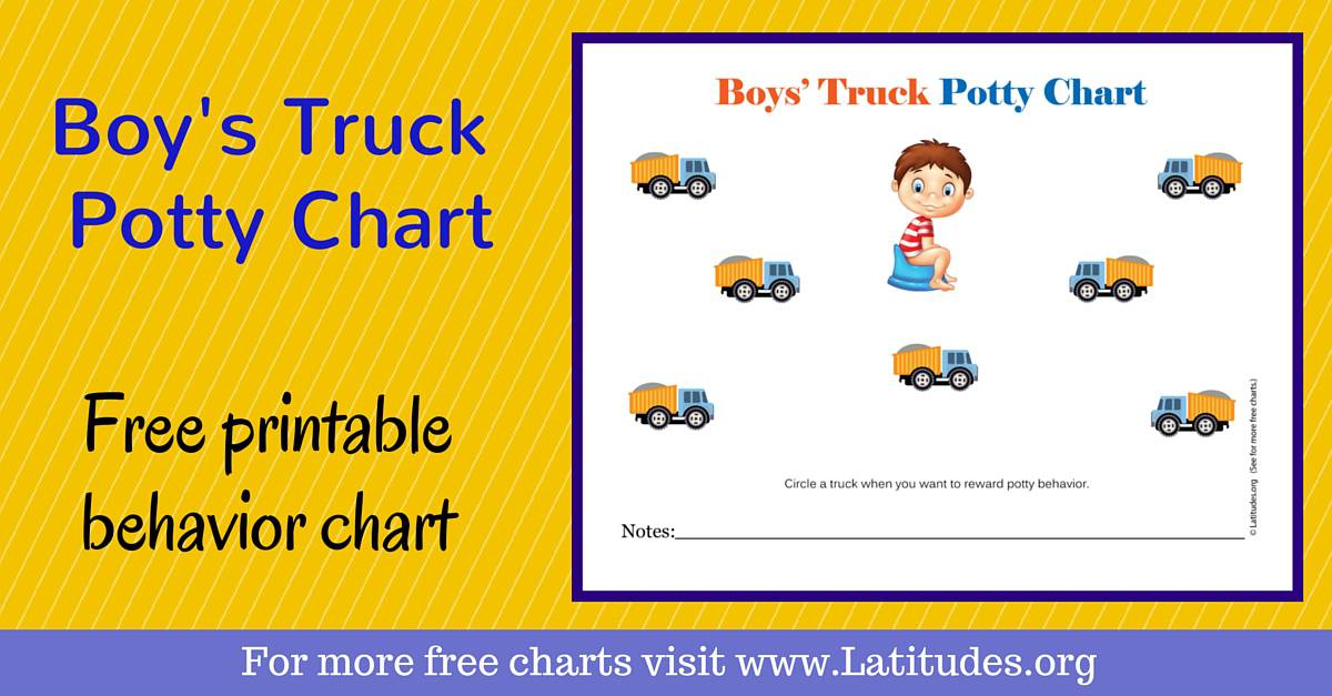free potty training chart  boys u0026 39  truck