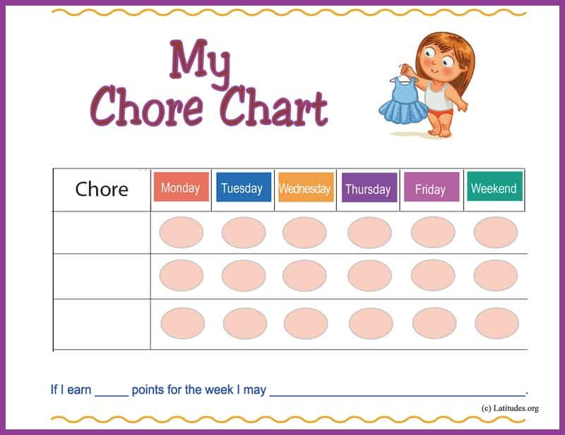 Girl's First Chore Chart Border