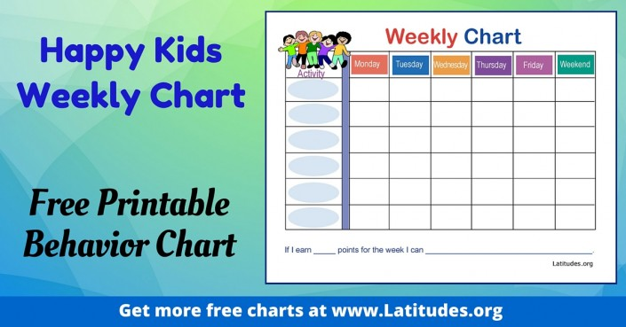 FREE Weekly Behavior Chart (Happy Kids)  Kids Behavior Chart Template