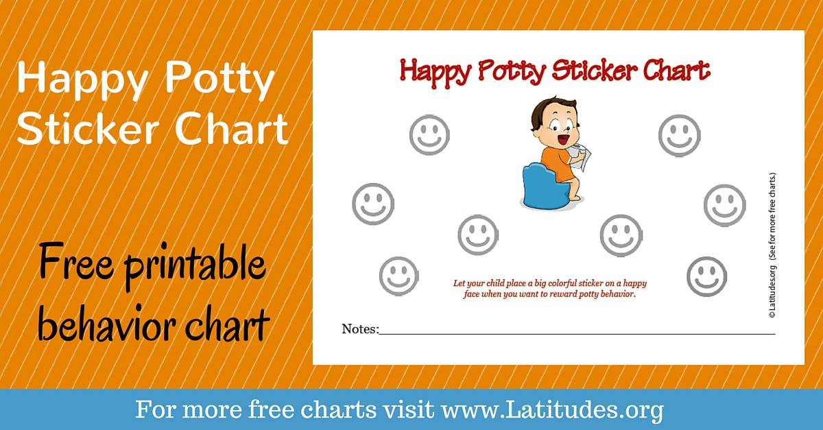 Free Potty Training Sticker Chart Happy Boy  Acn Latitudes
