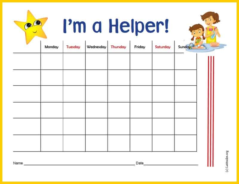 I'm A Helper Chore Chart Border