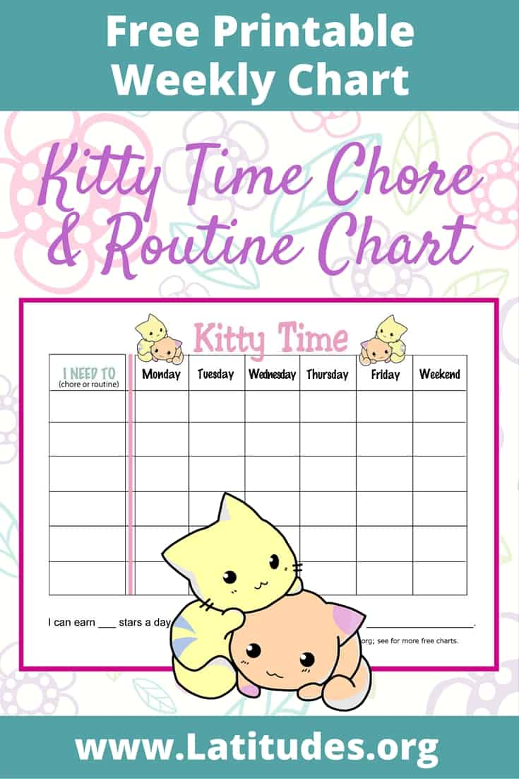 Kitty Time Weekly Routine Chart Pinterest