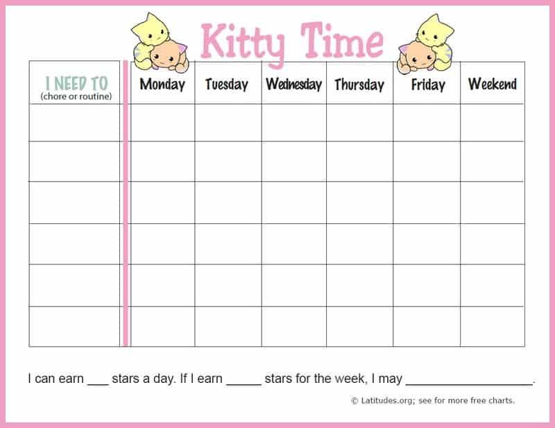 Kitty Time Weekly Routine Chore Chart Border