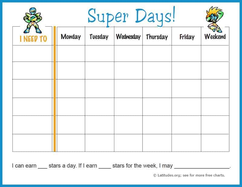 Free Weekly Behavior Chart (Super Days) | Acn Latitudes