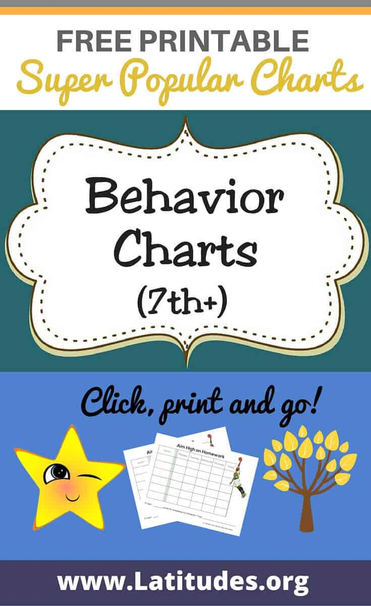Behavior Charts (7th +) Pinterest