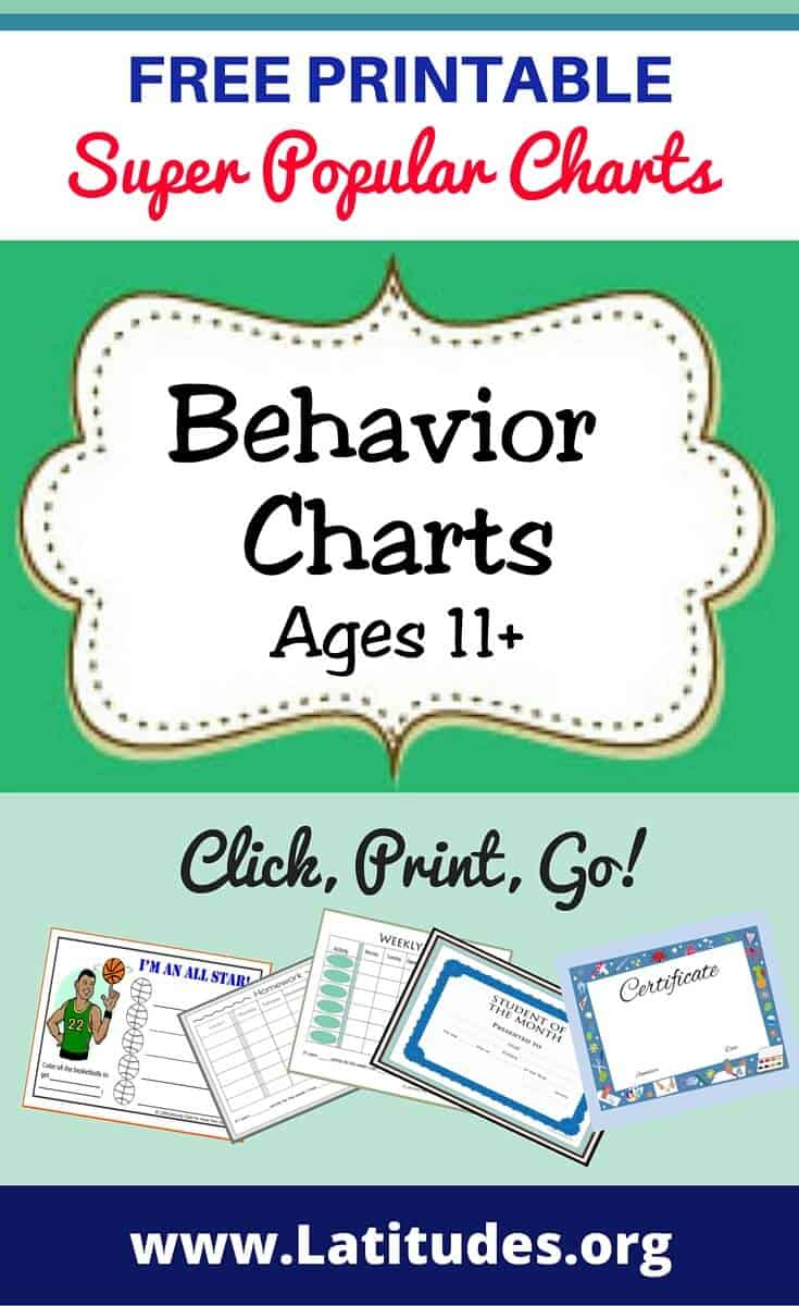 Behavior Charts Ages 11+ Pinterest