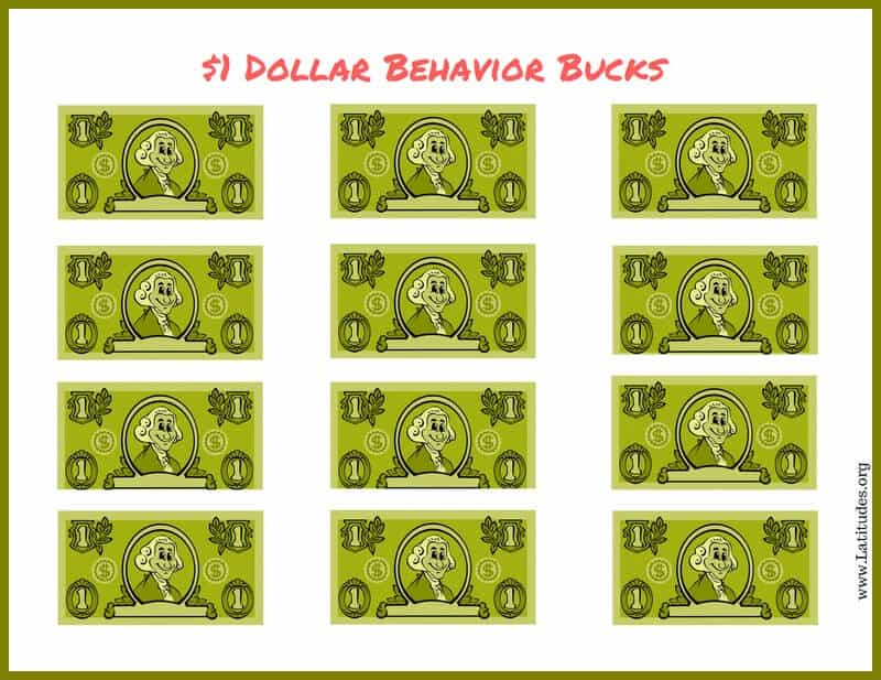 Free behavior bucks 1 dollar acn latitudes for Classroom bucks template