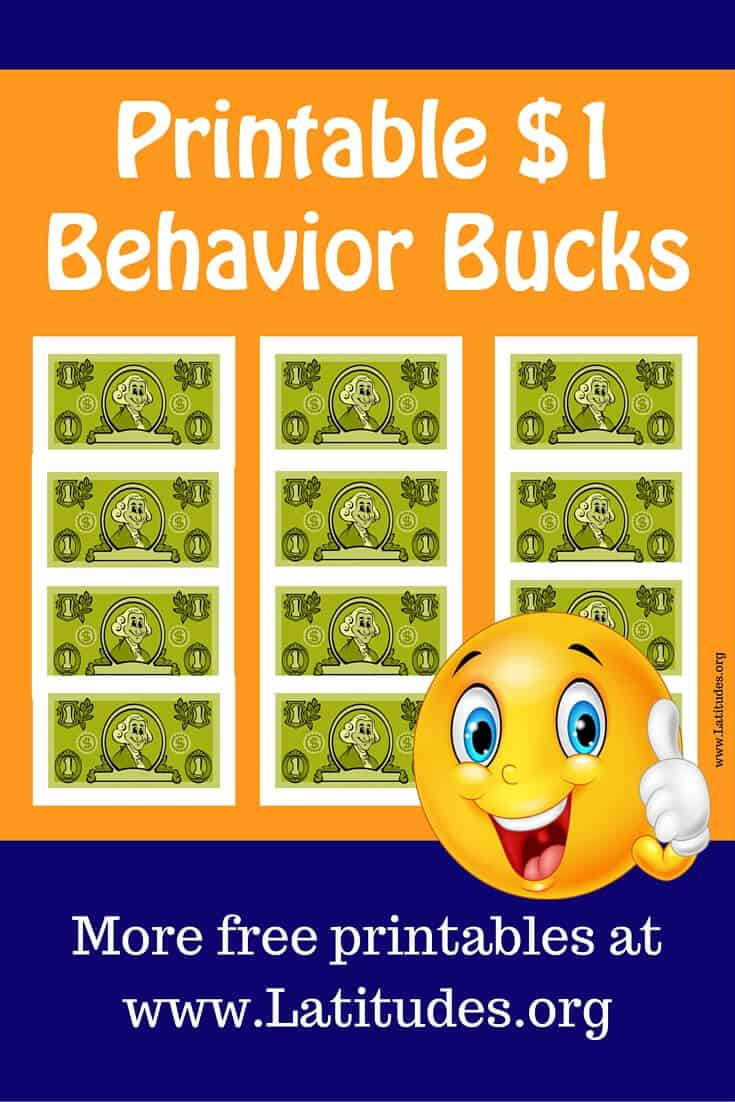 1 Dollar Green Behavior Bucks