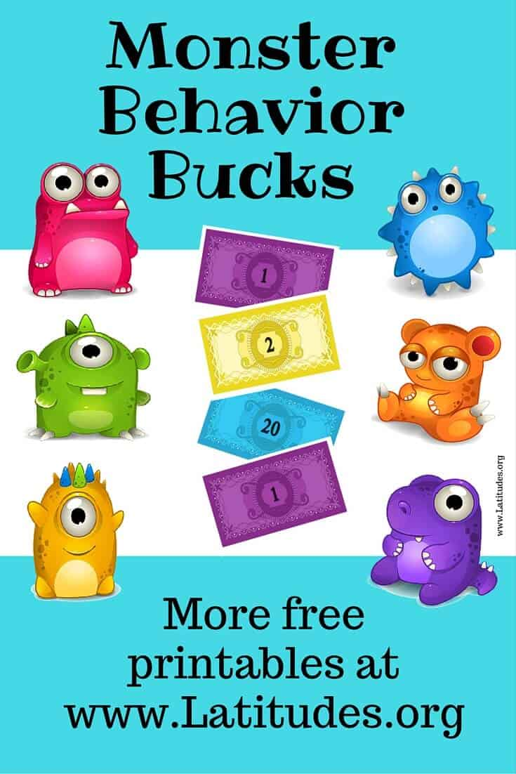 Free Printable Monster Behavior Bucks