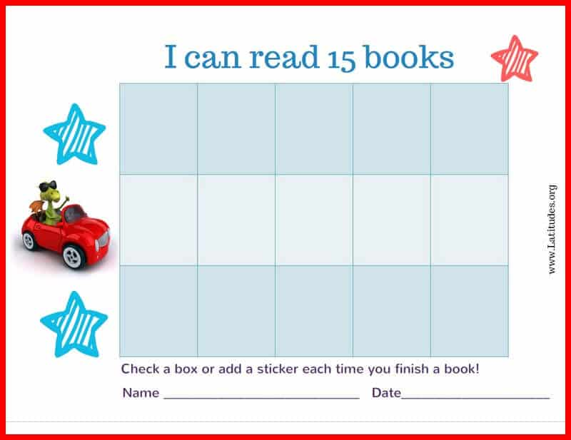 Read 15 Books Car Reading Chart Border