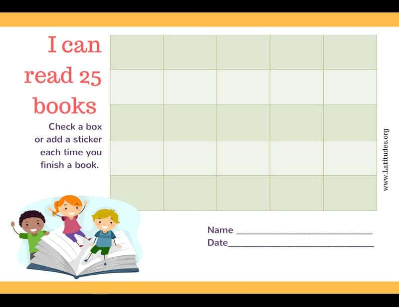 Read 25 Books Kids Reading Chart Border