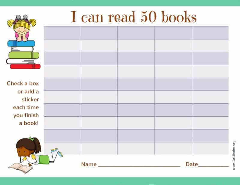Read 50 Books Girls Reading Chart Border