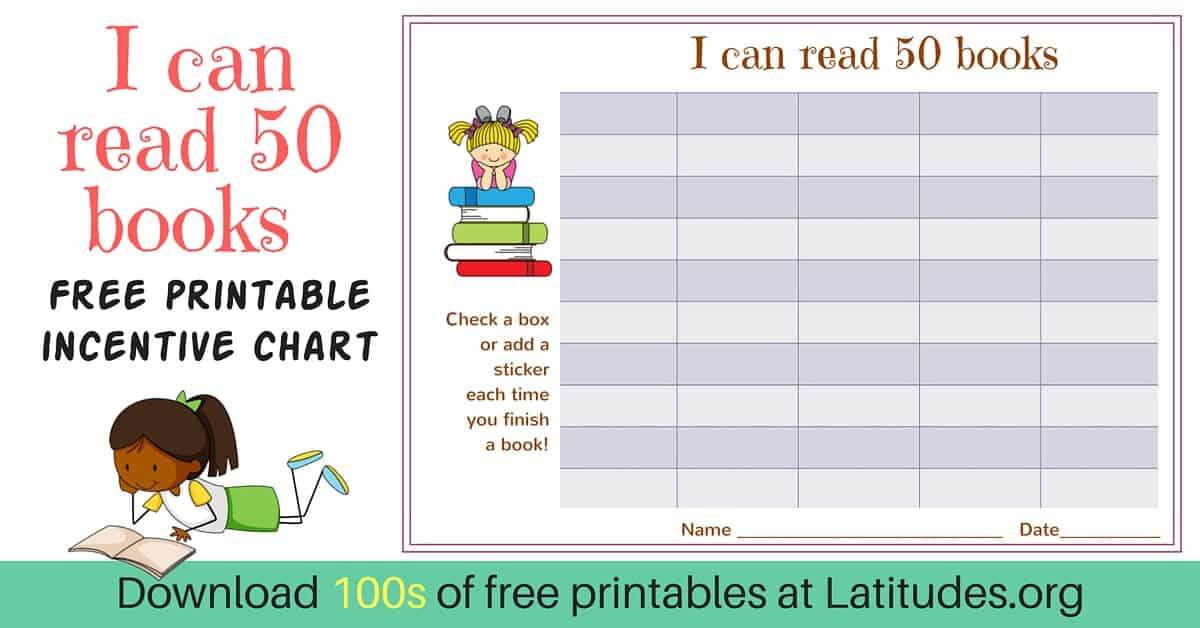 Free Reading Incentive Chart - Read 50 Books (Cute Girls) | Acn