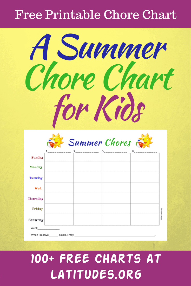 photograph regarding Summer Chore Chart Printable called Absolutely free Summertime Chores Chart ACN Laudes