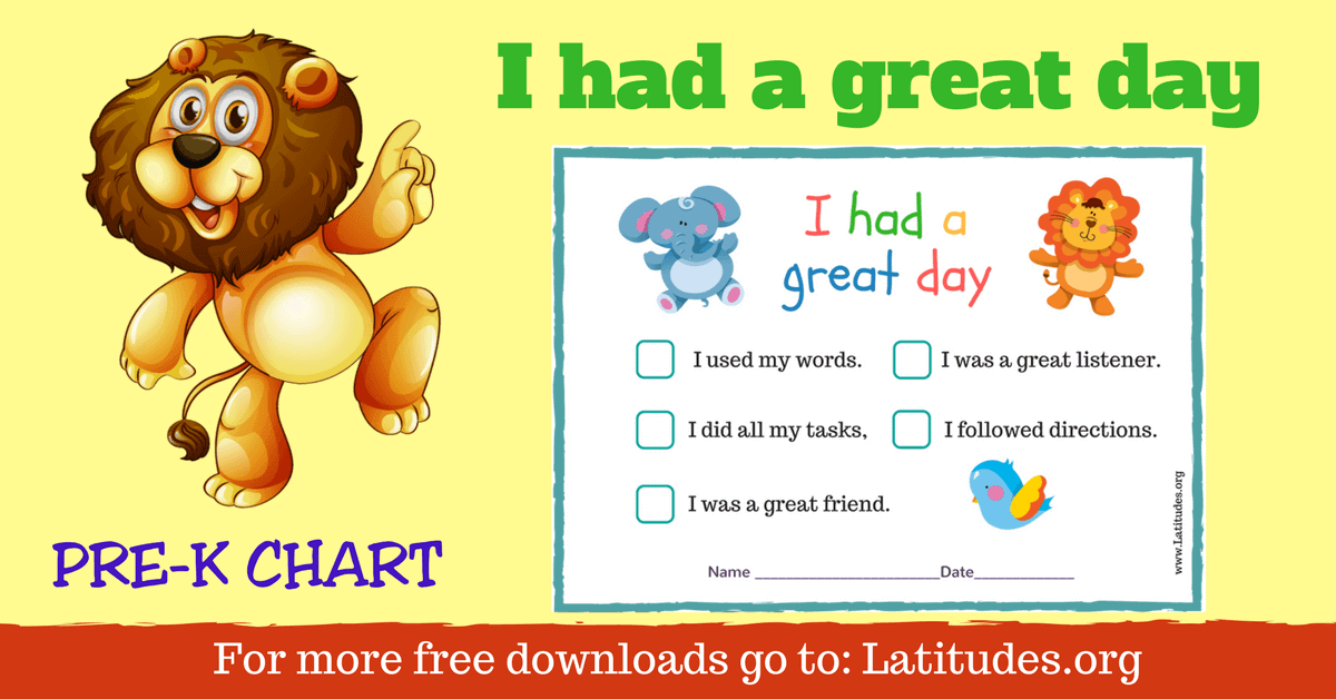 Free Had A Great Day Behavior Chart For Pre K