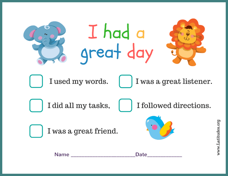 Had a Great Day Preschool Chart