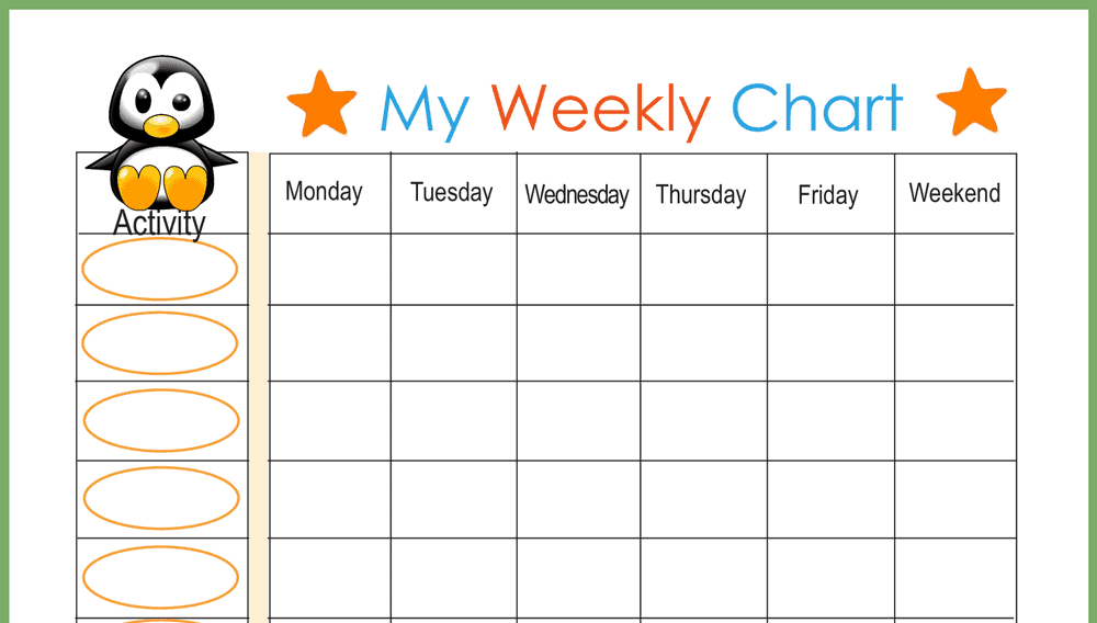 Baby Penguin Weekly Behavior Chart