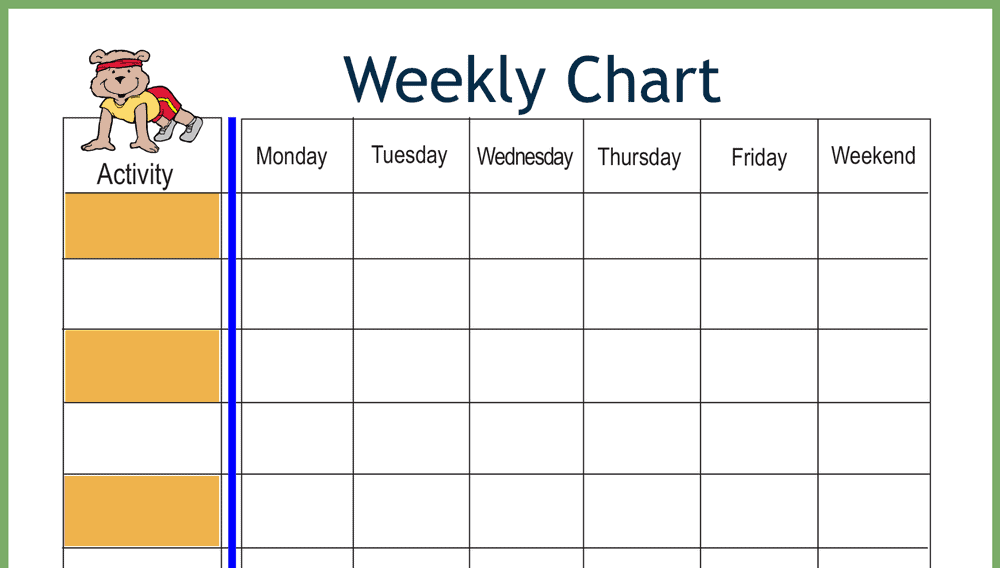 Bear Weekly Behavior Chart