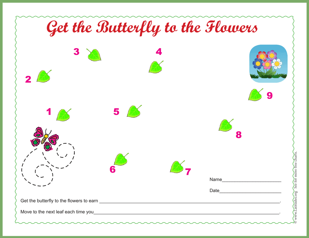 Butterfly to Flowers Sticker Chart